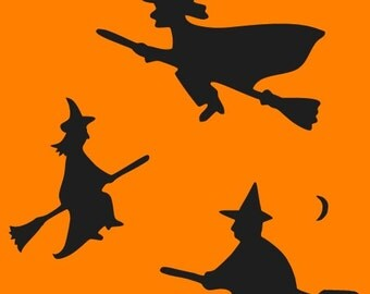 LITTLE WITCHES on BROOMS Stencil 3 Primitive Witches  6x6 Make Your Own Primitive Signs Halloween Fall Decorations Tags and More Hafair