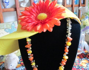 Younger Than Spring Time Diva Necklace - Chunky Turquoise Beads - Citrine and Tangerine Glass Teardrop Beads - Summer