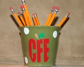 Personalized Teacher gift - green ceramic pencil holder with apple teacher monogram and polka dots