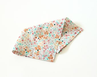 Peach & Mint Mini Floral Pocket Square - men's handkerchief