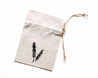 Drawstring linen gift bag, linen pouch, reusable ecofriendly, travel jewelry pouch, stenciled fern bag, linen bag