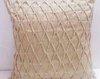 modern decorative pillow-beige zig zag diamond pleated origami triangle  cushion-home decor-accent pillow-hand sticthed pillow