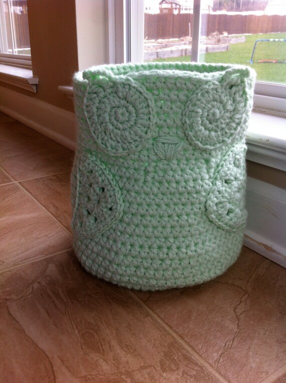 Crochet Owl Basket : Crochet Handmade Owl Basket Storage Bin.Mint by PinkRoomDesigns