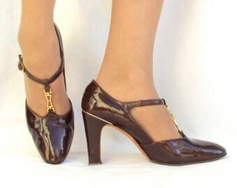Designer High Heels Brown Patent Leather T-Strap Vintage