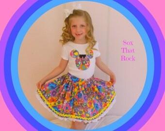Minnie Mouse Rainbow Magic twirly skirt & shirt set, perfect for Disney, Disney Cruise, Mickey's Semi Spooky Halloween