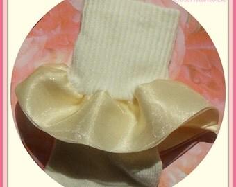 Girls cream dress socks - Lace or Sheer ribbon over satin ribbon double ruffle ribbon on cream color socks - limited availability of sizes