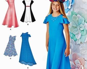 Tween Girls' Dress Pattern, Tween Girls' Formal Dress Pattern, Tween Girls' High Low Dress Pattern, Simplicity Sewing Pattern 1212