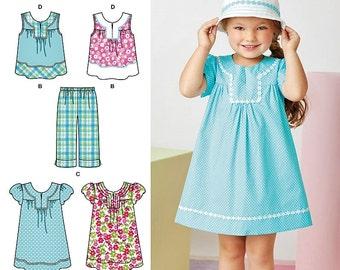 Girls' Pullover Dress Pattern, Girls' Pull-on Cropped Pants Pattern, Girls' Sunhat Pattern, Sz 3 to 8, Simplicity Pattern 2269