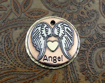 Angel Wings Custom Handmade Dog ID Tag-Personalized Angel Wings Dog Collar Tag-Dog Tag for Dogs