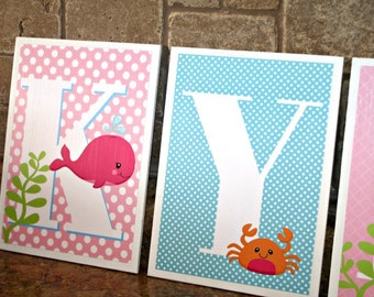 Lacey Sea Animals Collection Hanging Letter Plaques-Baby-Whale Baby Shower -Sea Theme-