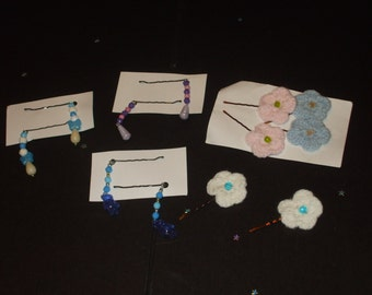 6 sets of 2 decorated bobby pins