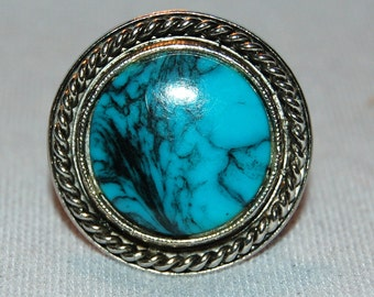 Vintage / Ring / Silver / Turquoise / Southwestern / Style /  old / jewelry /