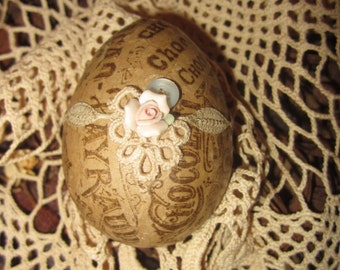 Vintage Lace Chocolat Cacao Ad Collage Easter Egg 1 Spring Decor