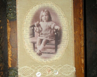 Vintage Lace Collage Tag Extra Large Girl sitting with her Teddy Bear