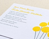 Billy Button Wedding Invitation, Letterpress printed SAMPLE