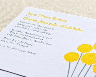 Billy Button Wedding Invitation, Letterpress printed SAMPLE