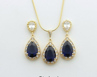 Sapphire Blue Gold Bridal Earrings and Necklace Set Gold Wedding Jewelry Set Cubic Zirconia Teardrop Gold Bridal Jewelry
