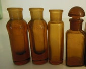 Vintage Tiny Amber Bottle Lot of 5 Pharmaceutical Antique