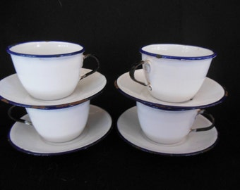 KER Sweden , 4 White Cups & Saucers, Enamelware w/ Blue Edge, Black Handle