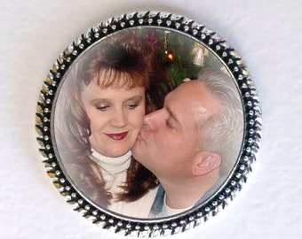 Wedding Vest Lapel Pin Silver Memory Memorial Photo Pin - FREE SHIPPING