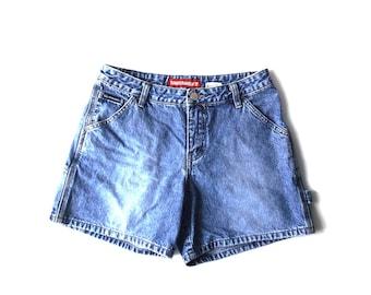 vintage 1990's unionbay denim short shorts sz 5 small 100% cotton blue retro modern womens juniors fashion clothing clothes carpenter denim