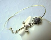 Cross Anklet Gothic Cross Ankle Bracelet Ankle Bangle Stacking Anklets Stained Violet Glass Jewelled Anklets Custom Anklet Violet Plus Size