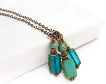 Blue Layering Necklace - Picasso Glass Bead Charm Necklace - Turquoise & Teal Blue - Bronze Chain - Simple Necklace - Boho Necklace