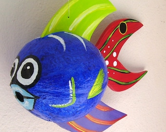 Coconut Fish Tropical Fish Hand Painted and Hand Crafted Blue Palm Seed Pod