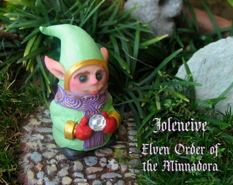 Joleneive - Order of The Minnadora - Handcrafted and Hand-Painted Miniature Elf Sprite Figurine with Crystal Snow Ball - Fantasy Character