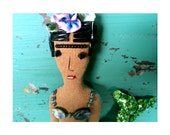 Small Frida Kahlo Mermaid Art Doll Ornament with Flower, Shells