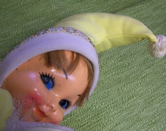 Vintage Bed Doll Pixie Elf Jester 1950's Yellow and White