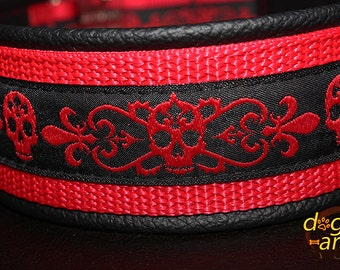 Handmade Easy Release Aluminum Buckle Leather Dog Collar SKULL by dogs-art in black/red/skull red 2""