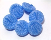 Vintage Periwinkle Blue Glass Buttons Pretty Set of 6 Sewing Buttons 11mm Jewelry Buttons