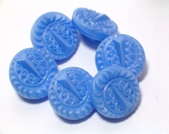 Blue Glass Buttons Vintage Periwinkle Blue Pretty Set of 6 Sewing Buttons 11mm Jewelry Buttons