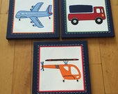 "3 pc ""Brody"" Madras airplane, car and truck canvas art set for boys room or nursery"