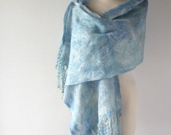 Cobweb Felted scarf Women Wedding Airy scarf , Blue Teal Turquoise scarf, Light Lace Scarf ,  by Galafilc