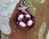Nest Necklace with Bird-Mother and 4 Baby Girls--CHOOSE wire & pearl colors