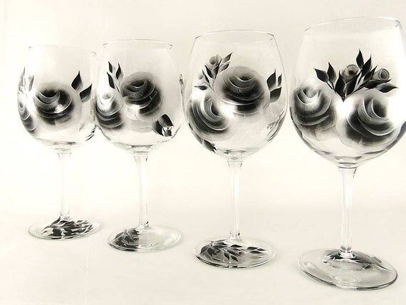 Hand-Painted Wine Glasses - Silver and Black Roses Set of 4 - Custom 25th 35th Anniversary Gift Idea Hand Painted HandPainted Red Wine Glass