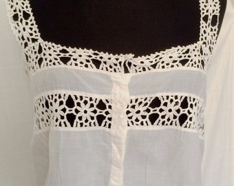 Vintage Edwardian White Cotton and Handmade Lace Corset Cover Size Small