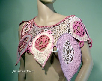 FALLEN LEAVES NECKPIECE - Unique Collar/Capelet, Signature Garment, Wearable Fiber Art, Richly Decorated, Freeform Crocheted