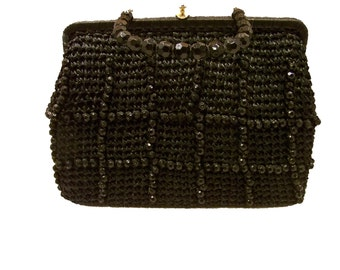 1950s Vintage Raffia Handbag Vintage 50s Purse  Made in Italy Vintage Purse Vintage Handbags
