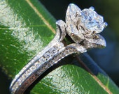 UNIQUE Flower Lotus Rose Diamond Engagement Semi mount Setting - flower ring on a leaf - 14k white, yellow or rose gold - fL01