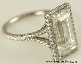 GIA certified - 5 carat - Emerald Cut Diamond engagement ring - Platinum- Luxury - engagement - bride - amazing - wedding ring - Bph027