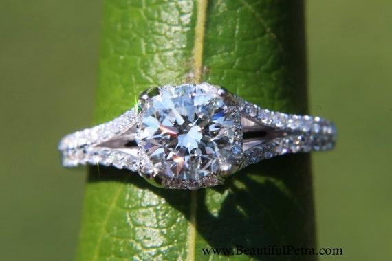 CUSTOM Made - 1.50 ct  Round - Split Shank-  Halo - Pave - Antique Style - Diamond Engagement Ring 14K white gold - Wedding - Brides # Bp001
