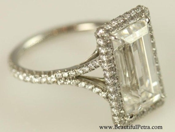 GIA certified - 5 carat - Emerald Cut Diamond engagement ring - Platinum- Luxury - engagement - bride - amazing - wedding ring - Bph027
