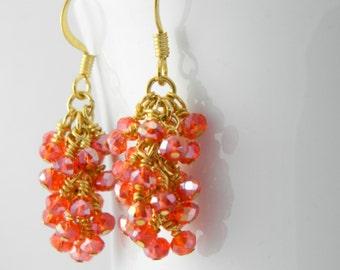 Orange Red Crystal Dangle Earrings