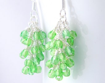 Feminine Green Dangle Earrings