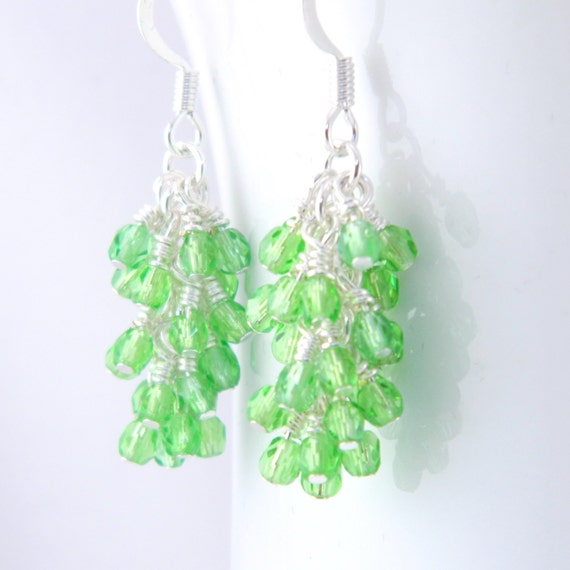 Feminine Green Dangle Earrings