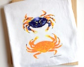 Tea Towel of Watercolor Crabs, Colorful Deluxe Dish Cloth