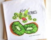 Deluxe Kiwi and Kiwi Berry Kitchen Towel, Watercolor Painting Dish Cloth